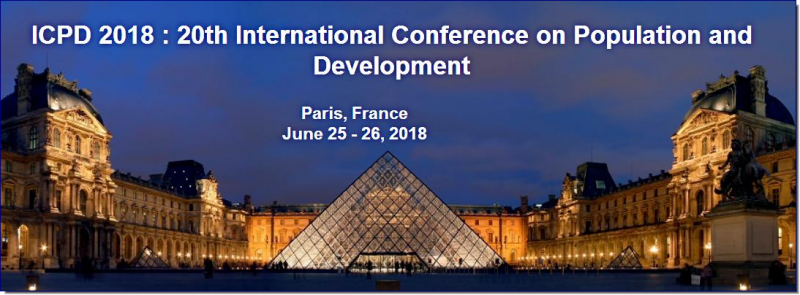 The ICPD 2018 : 20th International Conference on Population and Development is the premier interdisciplinary forum for the presentation of new advances and research results in the fields of Population and Development. The conference will bring together leading academic scientists, researchers and scholars in the domain of interest from around the world. Topics of interest for submission include, but are not limited to: Activities in Population and Development  Anti-Corruption, Good Governance and Human Rights  Adolescents and Youth Issues  Basic Data Collection, Analysis and Dissemination  Business, Economics, Management and Marketing   Birth Control Aspects  Children and Family Development  Child Survival and Health  Children and youth  Children's and Youth's Behavioral and Psychological Development  Communities and Communications  Democracy and Development  Diversity of Family Structure and Composition  Documented Migrants  Education and Poverty Eradication  Education, Population and Sustainable Development  Elderly People  Empowerment and Status of Women  Energy, Environment, and Sustainable Development   Eradication of Poverty  Family Planning and Reproductive Health