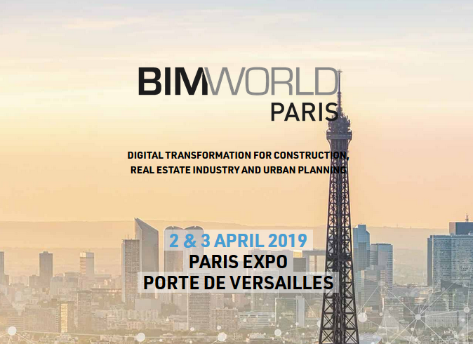 BIM World Paris is the world leading event for digital transformation in construction, real estate industry and urban planning, taking place the 2 & 3 April in Paris.  It is 2 intensives days of exhibition gathering world leaders (300 exhibitors) and a congress hightlighting good practices, trends and future (80 conferences and 250 selected speakers -CxO, governments, experts, disrupters)  BIM World is a unifying event for our community as a true platform for innovation and business, supporting our industry, the market and our territories.​