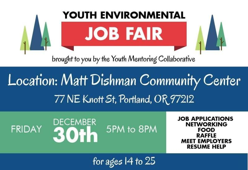 If you were at the last two job fairs, you already know what an amazing event this has become, connecting diverse youth with exciting job prospects. Hundreds of youth have attended these events.  If you weren't able to attend before, prepare to be inspired!  The fair is youth-led, so adult roles are limited; the goal is for youth tablers to represent the hiring organizations. The fair serves youth, primarily of color.