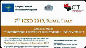 "The International Conference on Sustainable Development is organized by the European Center of Sustainable Development in collaboration with CIT University. The 7th ICSD 2019 is inspired from the critical challenge of human, environmental, and economic sustainability concerning the present and future generations in a global-scale context. The Conference venue is:  Roma Eventi, Congress Center, Piazza della Pilotta, 4, Rome, Italy  Wednesday 4 to Thursday 5 September, 2019. Download Venue Information  The Conference theme is:  ""Creating a unified foundation for the Sustainable Development: research, practice and education"".   This theme emphasizes the strong foundation that is provided by using research to inform our everyday practices, policies, and analytical approaches.    The 2019 Conference will once again provide a forum for the sharing of ideas, presentation of research findings, and discussion of professional issues relevant to Sustainability Science"