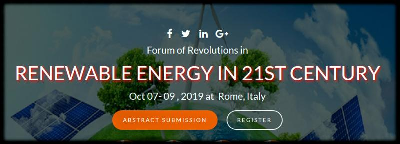 "The theme of the conference is ""The prime priority of the 21st century"". We cordially invite all the participants who are interested in sharing their knowledge and research in the area of Renewable Energy.  FOREN21 -2019 anticipates more than 150 participants around the globe with thought provoking Keynote lectures, Oral and Poster presentations. This is an excellent opportunity for the delegates from Universities and Institutes to interact with the world class engineers, Directors and CEO'S, Researchers , Lectures and Students from Academia.  Participants from the top international academic, government and private industry labs of different disciplines participate in FOREN21-2019 to identify new technology trends, development tools, product opportunities, R&D collaborations, and commercialization partners."