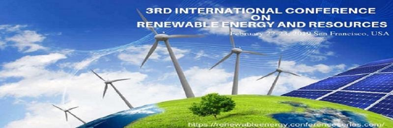 "This highly exciting 3rd International Conference on Renewable energy and Resources is intended to be a forum, discussion and networking place for academics, researchers, professionals, administrators, educational leaders, industry representatives and Business leaders. Meet Inspiring Speakers and Experts at our 1000+ Global Events inclusive of 300+ Conferences, 500+ Workshops and 200+ Symposiums every year on Pharm, Medicine, Science and Technology. Theme of the Conference is: ""Cutting-edge Information on Renewable Energy Technologies and Innovations ""."