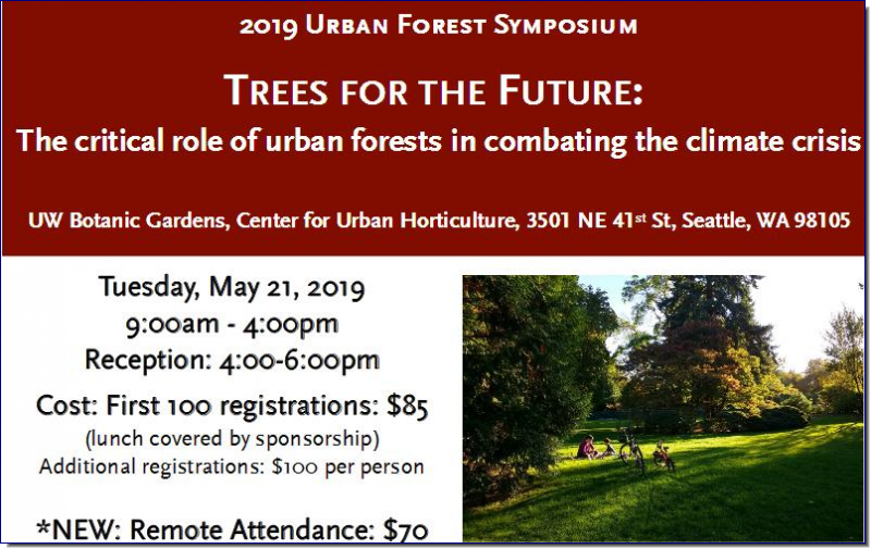 The Honorable Hilary Franz, Washington State's Commissioner of Public Lands,  will be joined by local experts from academic, nonprofit, business, and government  sectors, for a robust discussion of climate change impacts to the urban forest,  and how local communities are taking action. This year's speakers will present the  latest information on emerging challenges to the health of urban forests, initiatives to  improve urban forest habitat connectivity, elevating trees as green stormwater  infrastructure and incorporating urban forest value into innovative carbon credit  systems. Learn what you need to know to support a healthy and resilient local  urban forest, and contribute to addressing global climate change