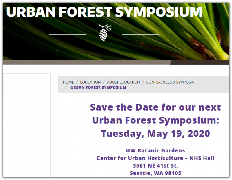 PlantAmnesty and UW Botanic Gardens partner to deliver the Urban Forest Symposium each spring. Each year's symposium focuses on a timely topic and brings together a diverse audience including arborists, land managers, designers, program managers, municipal planners, volunteers, and advocates. Past Symposia  2019: Trees for the Future: The critical role of urban forests in combating the climate crisis