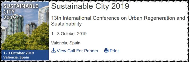 The 13th International Conference on Urban Regeneration and Sustainability addresses all the aspects of urban environment aiming to provide solutions leading towards sustainability. The Sustainable City 2019 conference follows a series of very successful meetings that started in Rio (2000), followed by Segovia (2002), Siena (2004), Tallinn (2006), Skiathos (2008), A Coruña (2010), Ancona (2012), Kuala Lumpur (2013), Siena (2014), Medellin (2015), Alicante (2016) and Seville (2017).  The meeting always attracts a substantial number of contributions from participants from different backgrounds and countries. The variety of topics and experiences is one of the main reasons behind the success of the series. Papers presented at these meetings are archived online in the WIT eLibrary (www.witpress.com/elibrary) where they are easily and permanently available to the international scientific community.