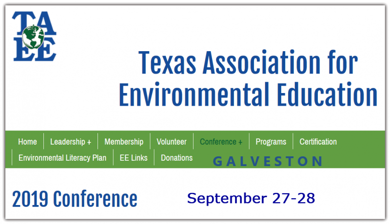 Please join TAEE for the annual conference of Texas environmental educators on the coast in Galveston. Sea Star Base Galveston offers a multitude of unique indoor and outdoor event facilities perfect for our conference this year! With stunning views of Offatts Bayou, Galveston Bay, and the City of Galveston, you won't want to be anywhere else.  Registration information coming soon.