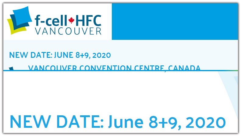 In view of the current worldwide COVID-19 situation and its public health impact, we have made the difficult decision to postpone April's f-cell+HFC 2020 The Hydrogen and Fuel Cell Event.