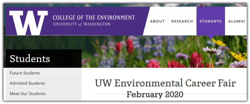 Open to all UW students and alumni, the Environmental Career Fair is an opportunity to explore careers in environmental and natural resources fields. The Environmental Career Fair features employers from the nonprofit, government and private sectors with career-level positions and paid internships.